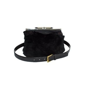 Handbags - Sheered Beaver Fannypack / Muff Bag with Belt